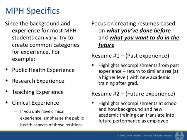 MPH Specifics ...  Public Health Resume Sample