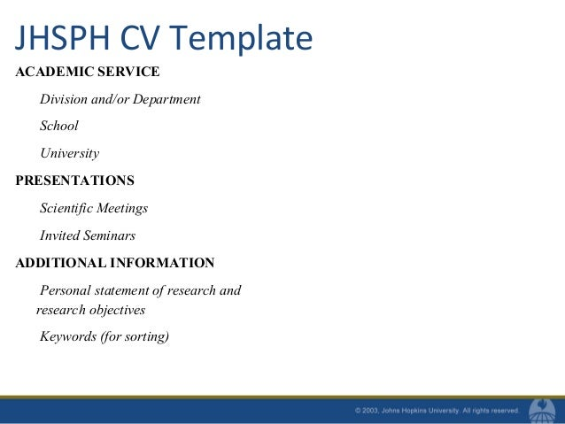 individual university 23 jhsph cv template - Cvs Resume Example