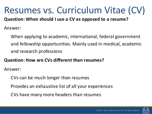 resumes vs - Curriculum Vitae For University Application