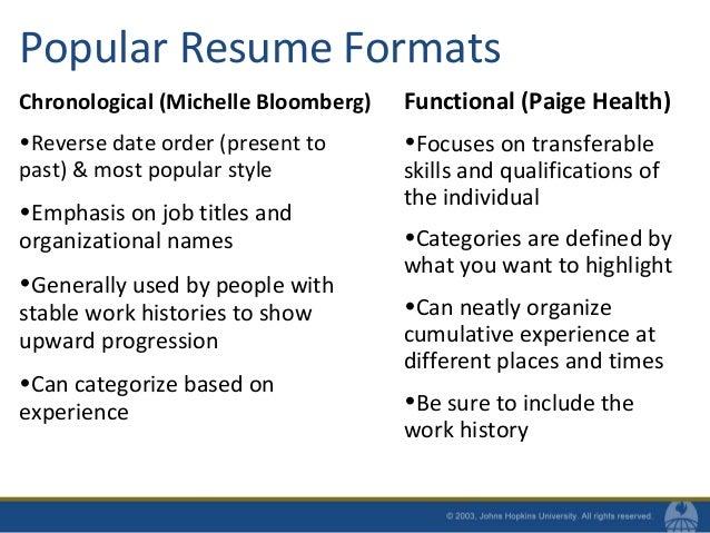 Popular Resume Formats Chronological ...