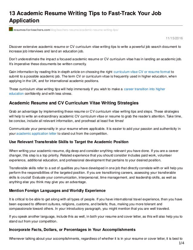 11/15/2016 13 Academic Resume Writing Tips To Fast Track Your Job ...  Writing Resumes