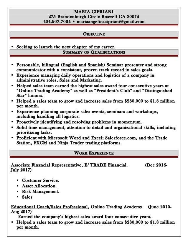 resume sales job