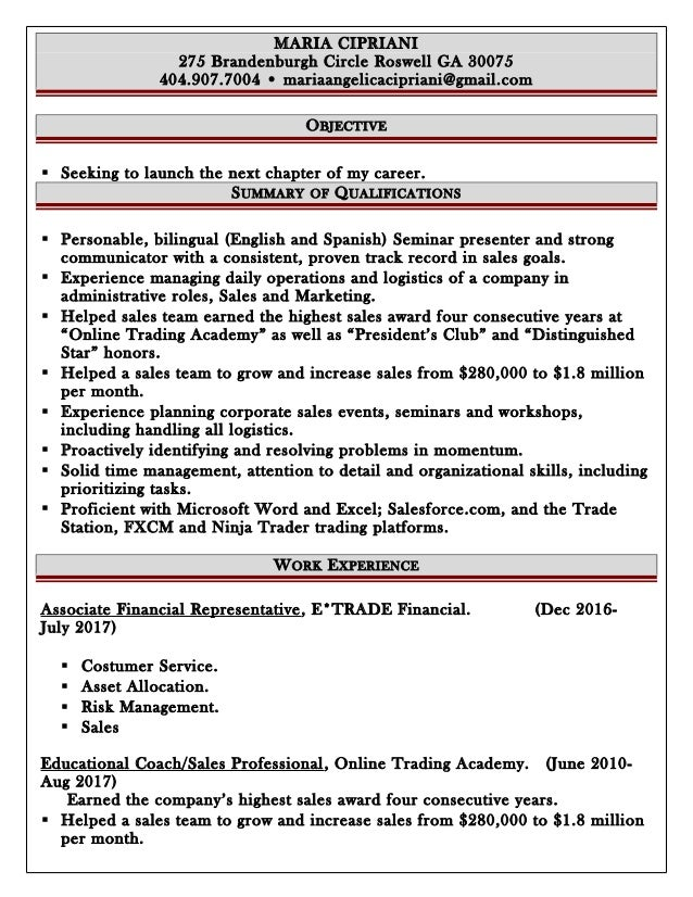 Resume Sales Job. MARIA CIPRIANI 275 Brandenburgh Circle Roswell GA 30075  404.907.7004 U2022 Mariaangelicacipriani@gmail.  Sales Job Resume