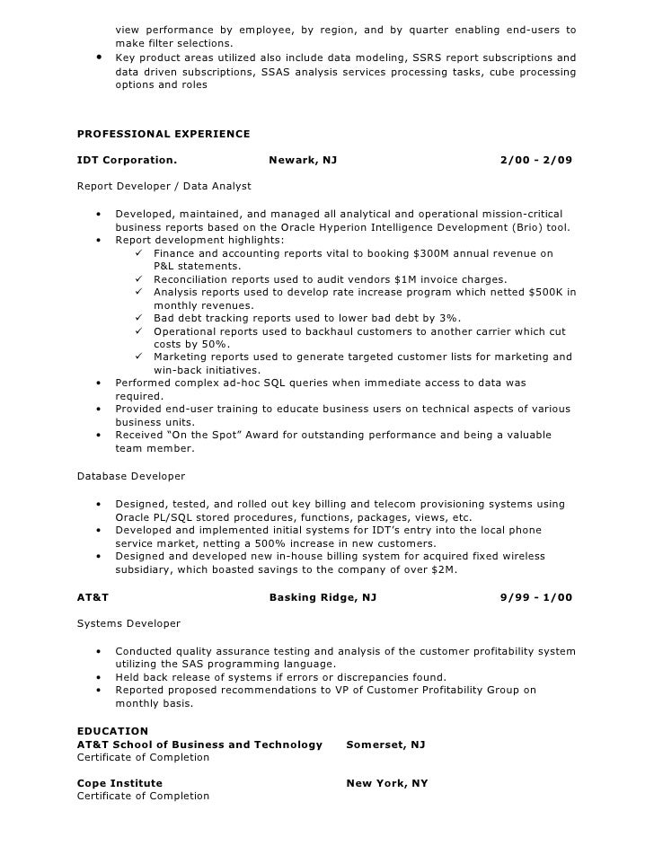 2 view - Database Developer Resume