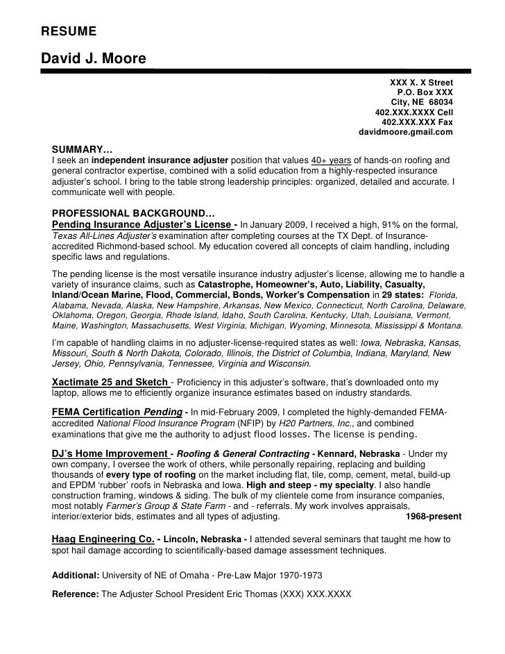 resume writing insurance industry