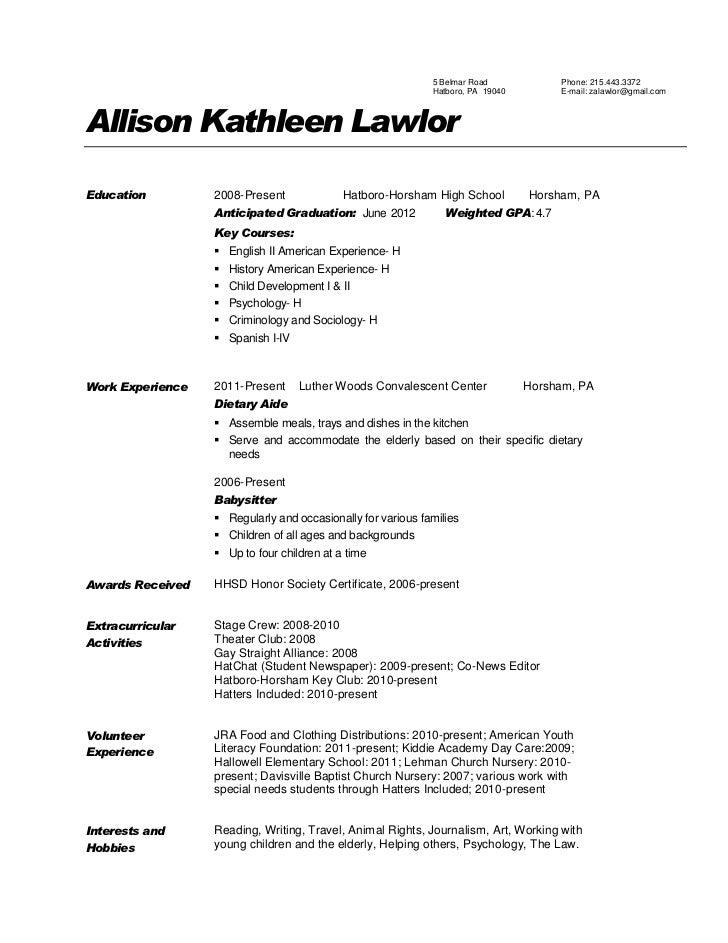 child development resume