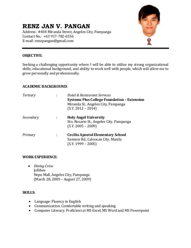 Samples Of Resume For Job Application  Resume Format