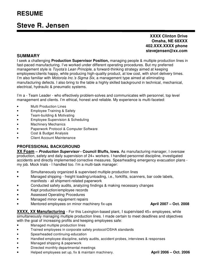 Production Lead Resume Samples