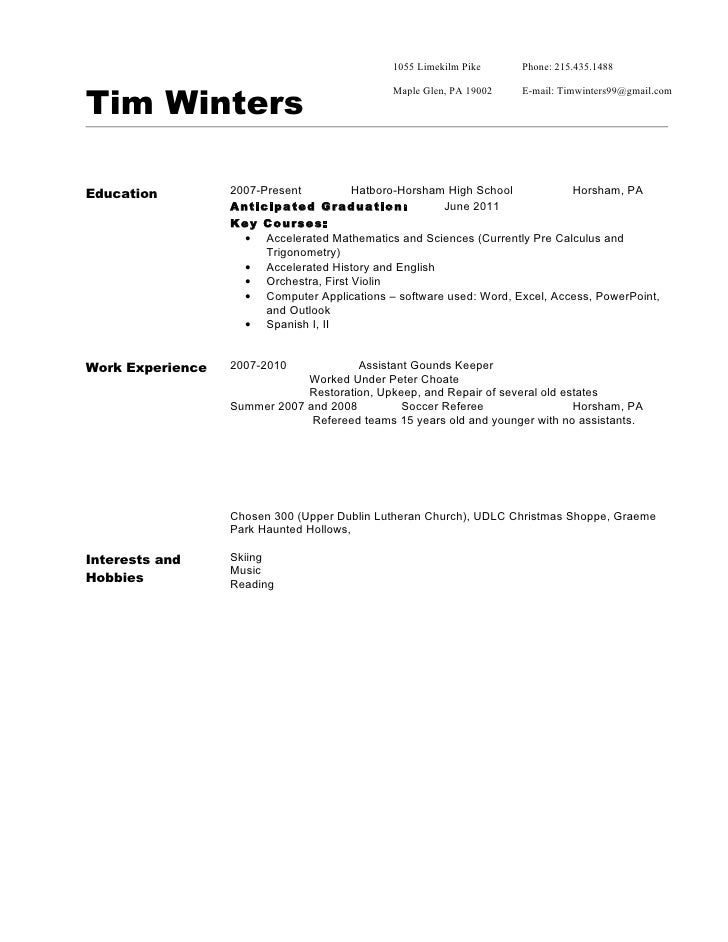 How To Write A Resume For A 15 Year Old nmdnconferencecom