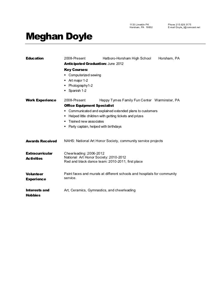 National honor society resume example
