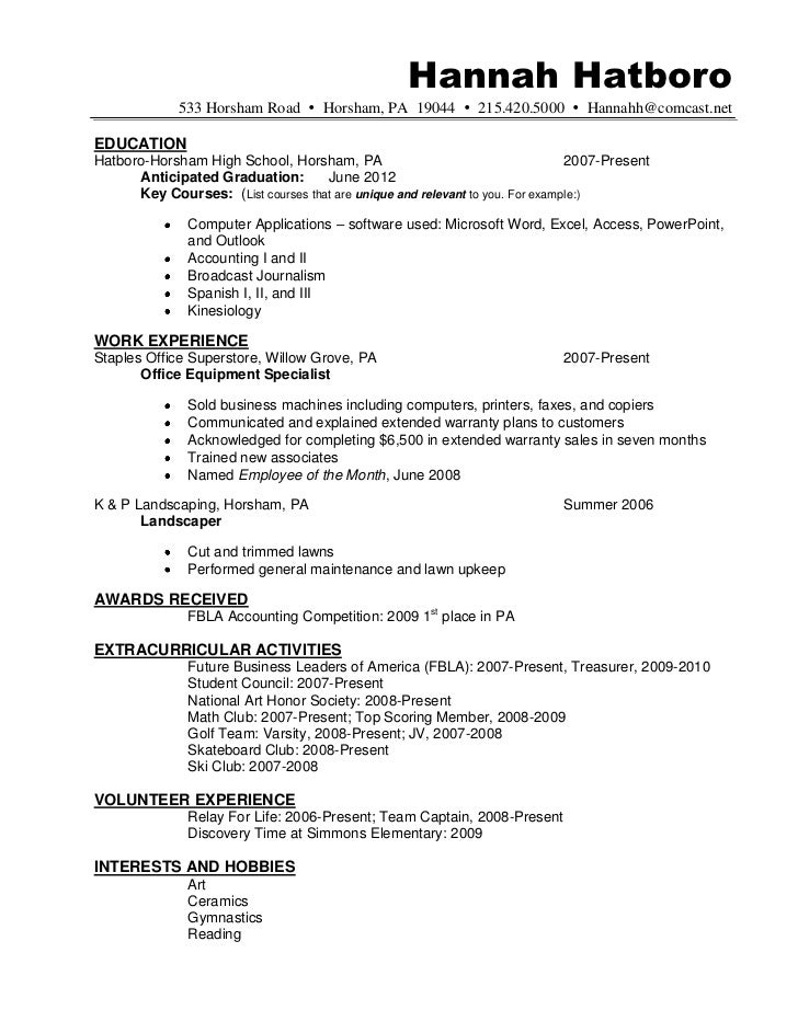 Resume sample hannah hatboro 0411
