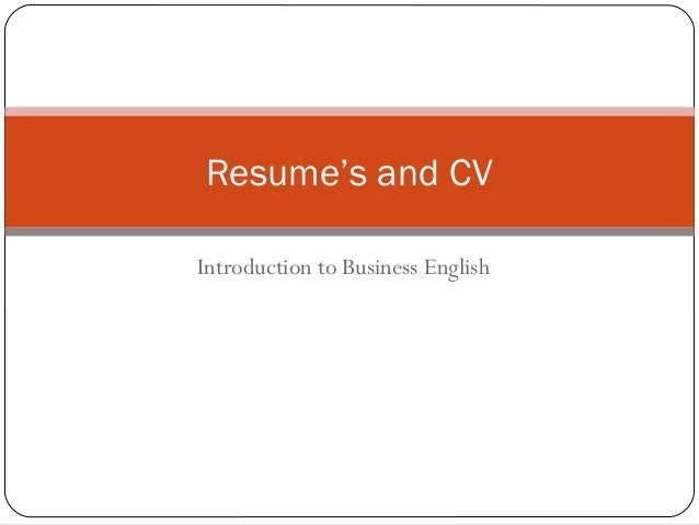 Introduction to Business English Resume's and CV