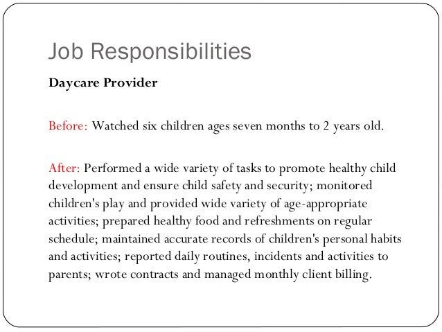 child care provider job description - Template