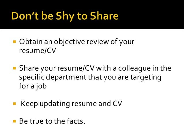 resumes and c vs
