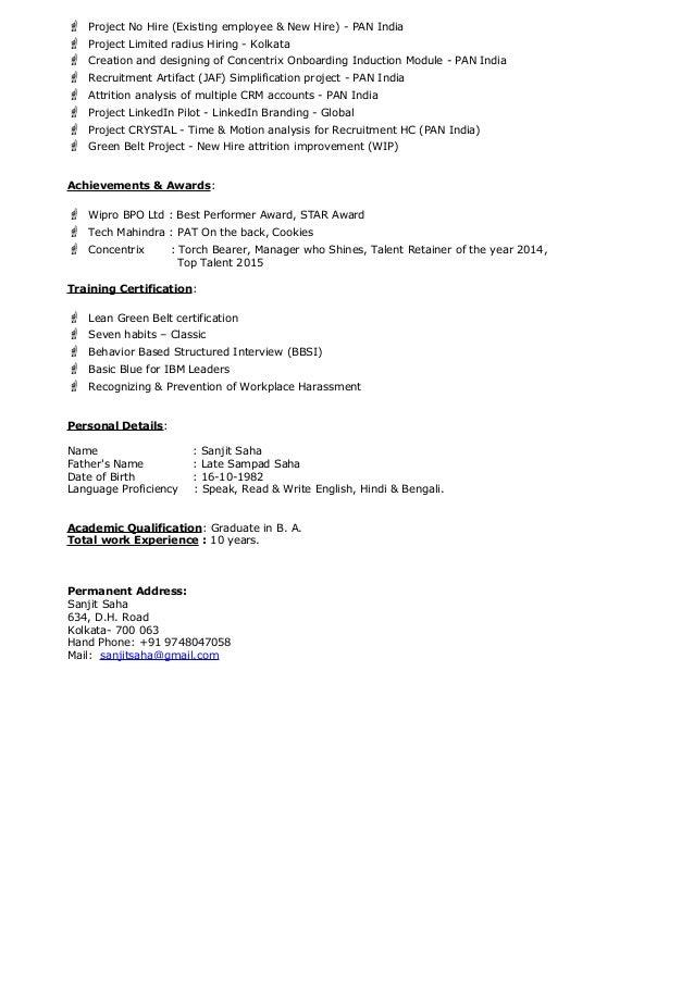 resume sanjit saha