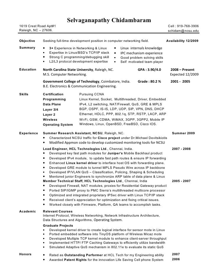 Network Engineer Sample Resumes