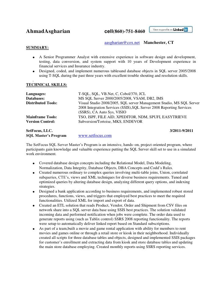Resume - Sql Server Developer