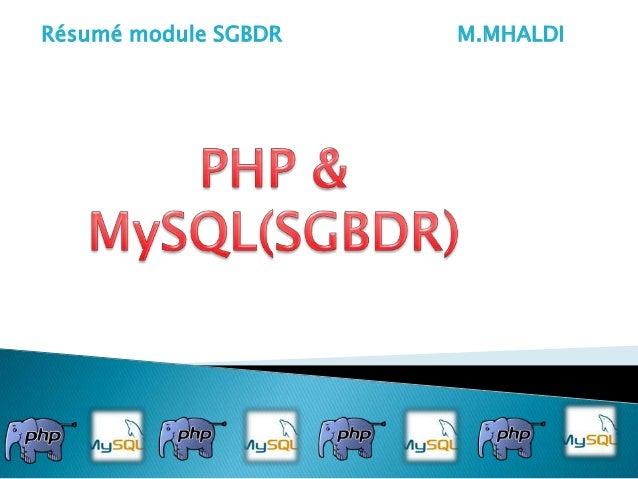 Résumé module SGBDR  M.MHALDI