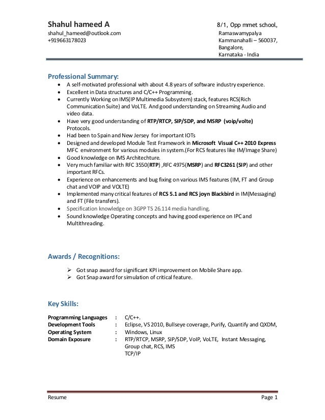 resume shahul rcs