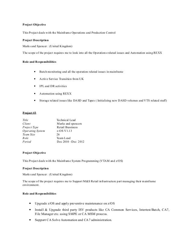 mainframe resume sample