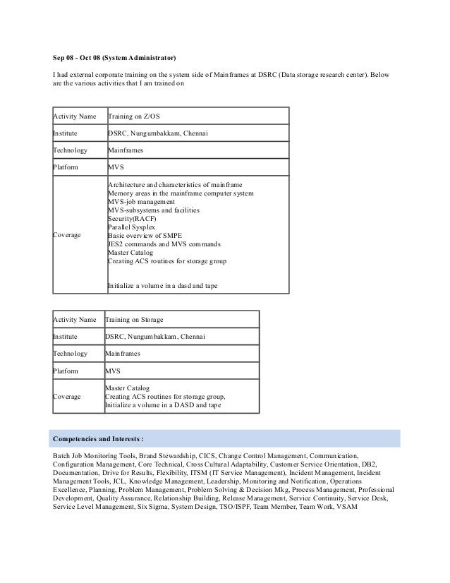 6 - Mainframe Administration Sample Resume