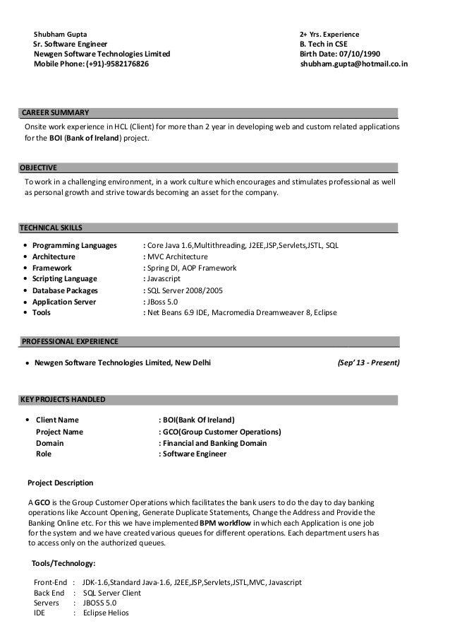 j2ee jsp resume