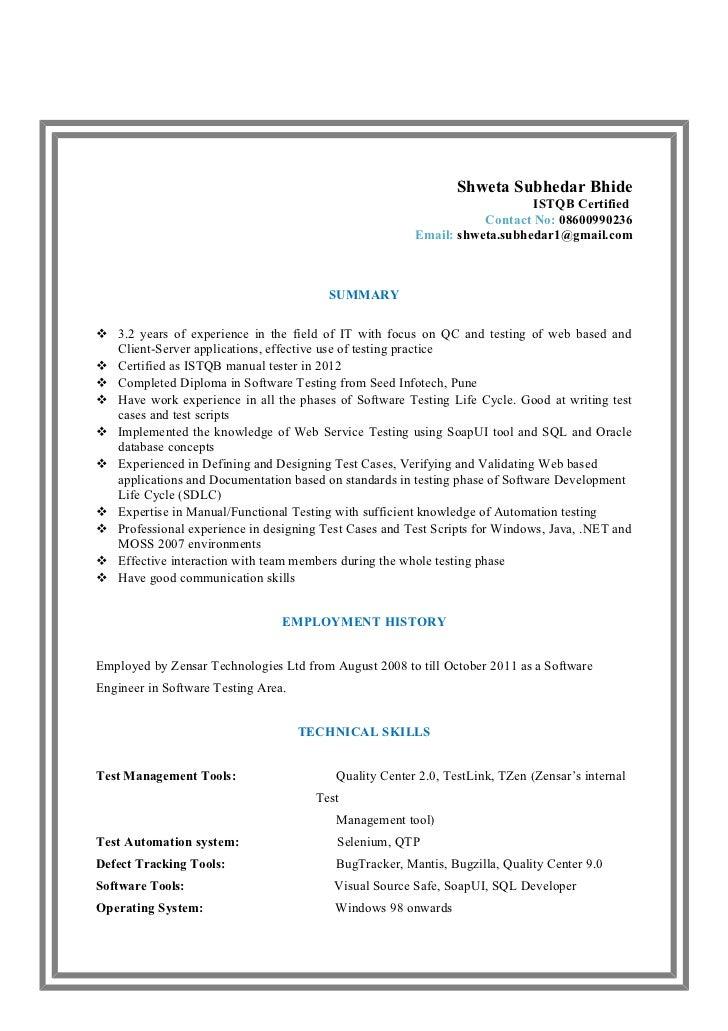 sample resume for 1 year experience in manual testing - resume shweta subhedar bhide