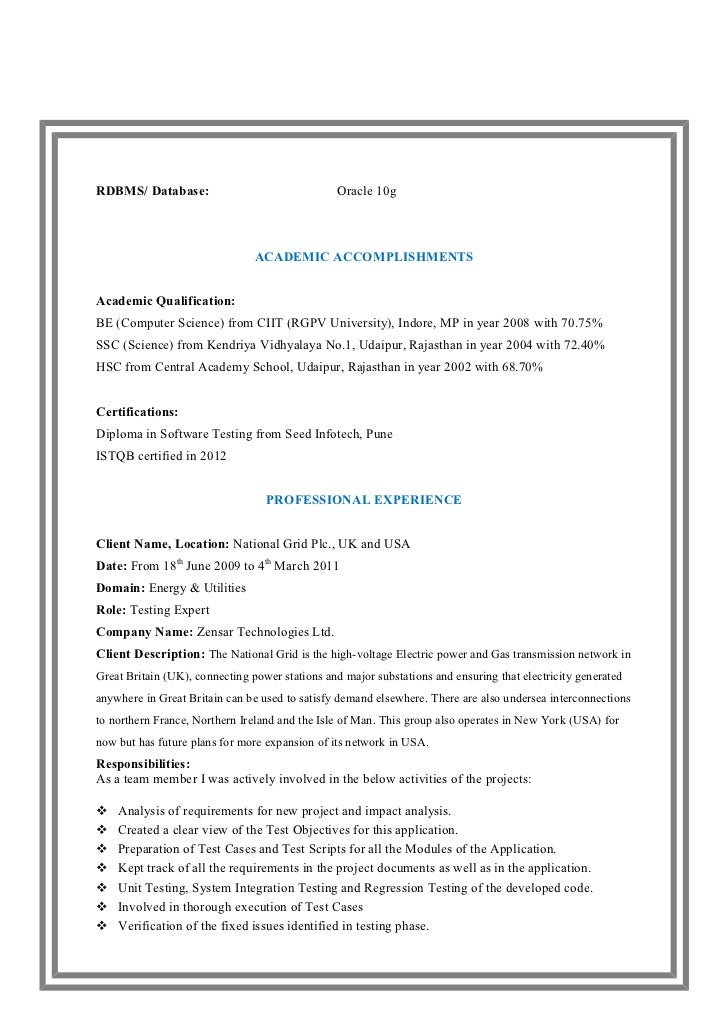 Software Knowledge In Resume Resume Format Software Testing