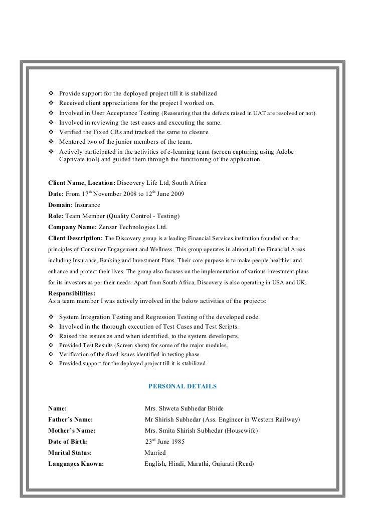 Resume Shweta Subhedar Bhide – Manual Testing Resume Samples