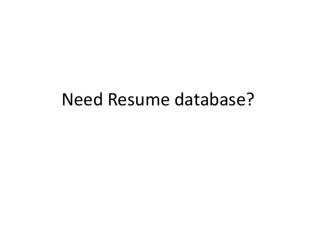 free resumes database