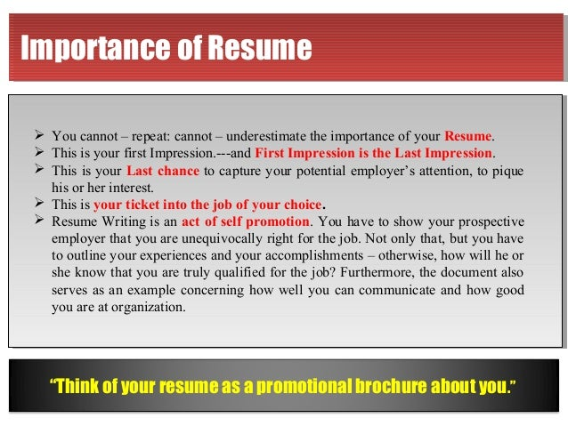 resume is mirror of your personality