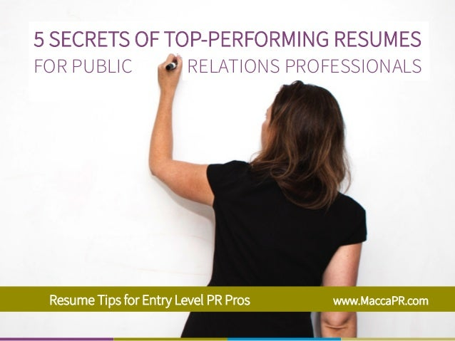 resume tips for entry level public relations professionals