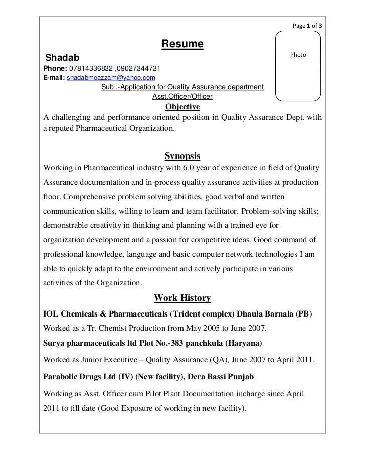 page 1 of 3 - Regulatory Affairs Resume Sample