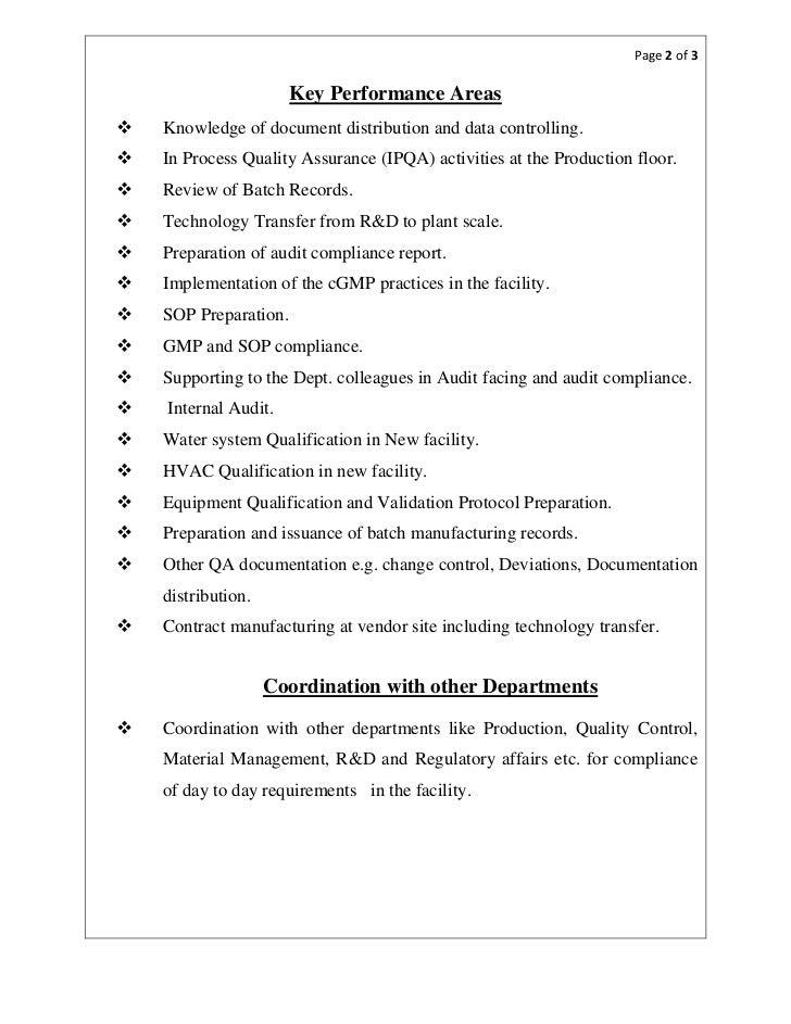 Pharmaceutical quality assurance resume objective