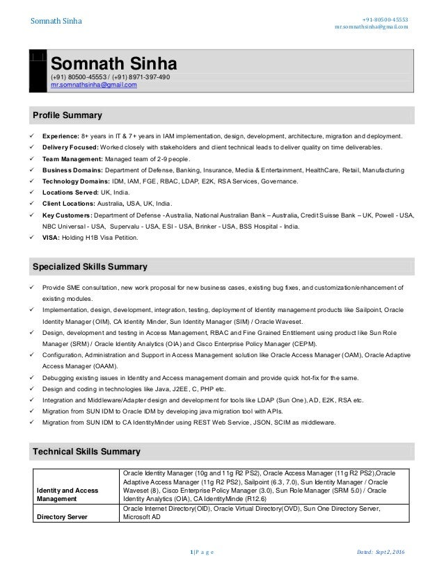 Service Delivery Manager Resume samples VisualCV resume samples Architect