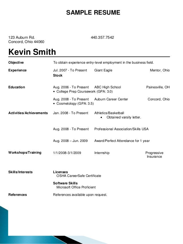 Resume Samples – Sample Resume for Beginners