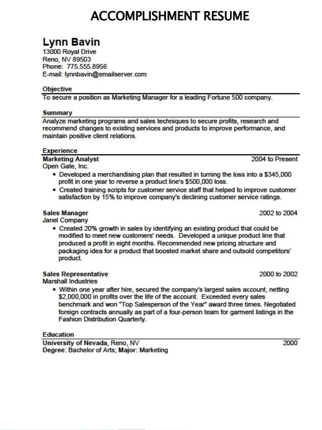 What Is Accomplishment In Resume Resume Ideas