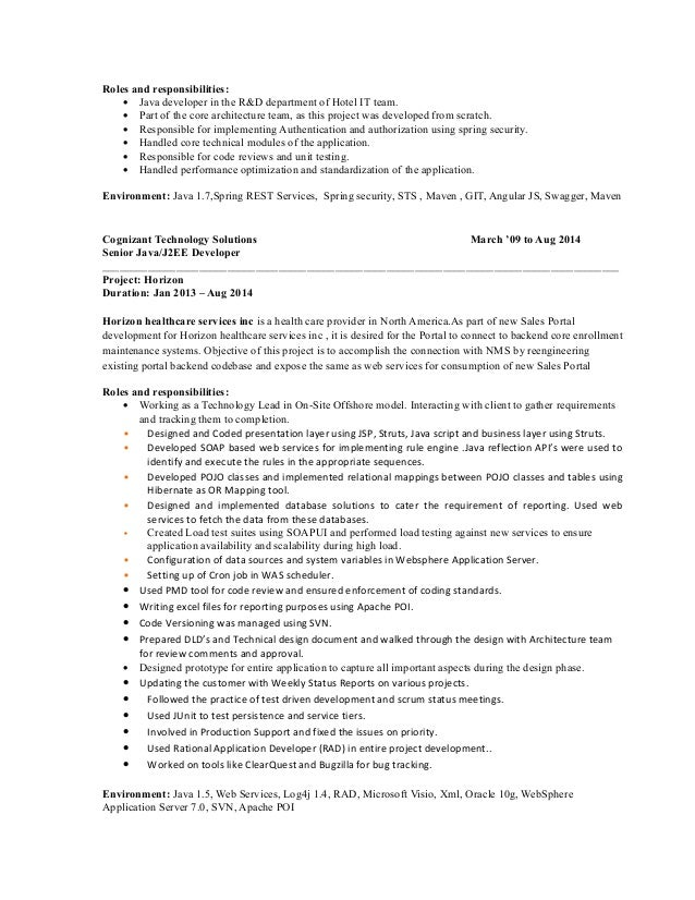 3 roles and responsibilities java developer. Resume Example. Resume CV Cover Letter