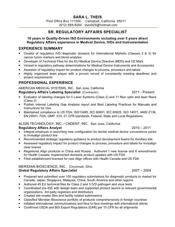 regulatory compliance resumes