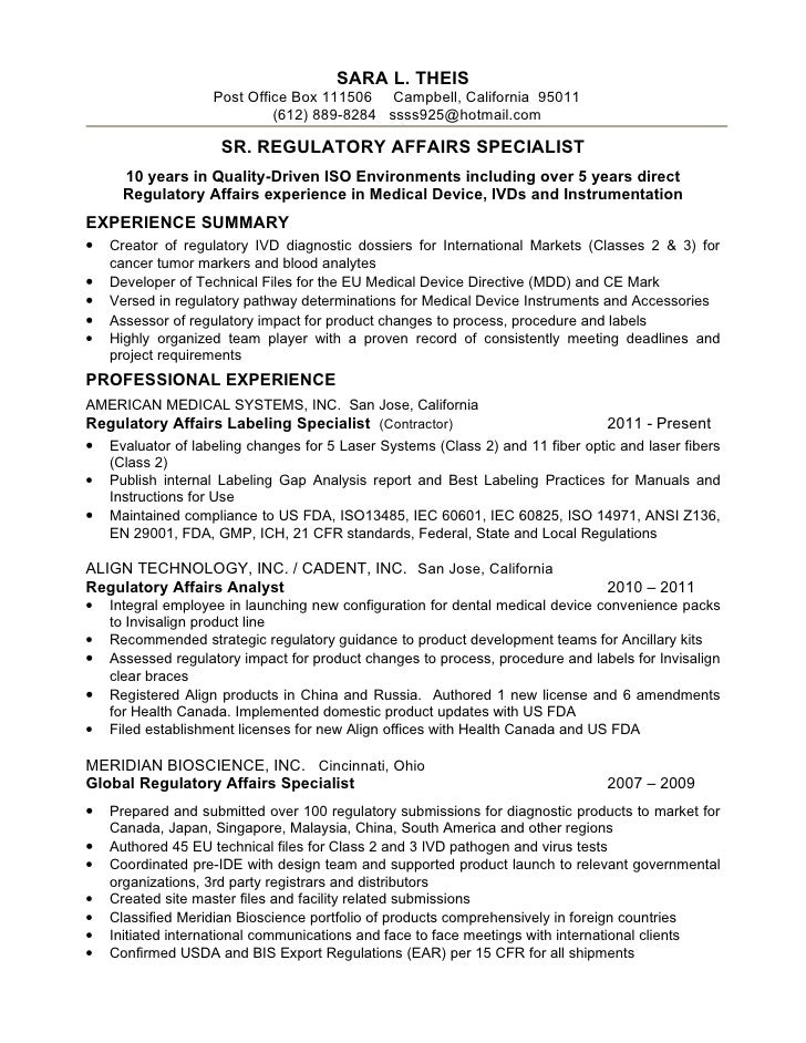 Resume S Theis Sr Reg Affairs Spec