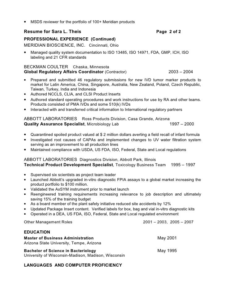 Resume s theis sr reg affairs spec for Pharmaceutical regulatory affairs resume sample