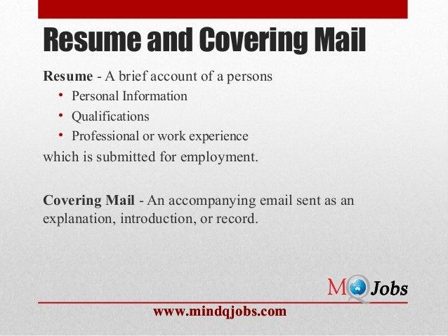 Mindqjobs.com : Resume structure and Covering Letter Slide 2