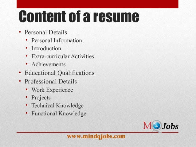 Mindqjobs.com : Resume structure and Covering Letter