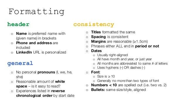 resume styling slides