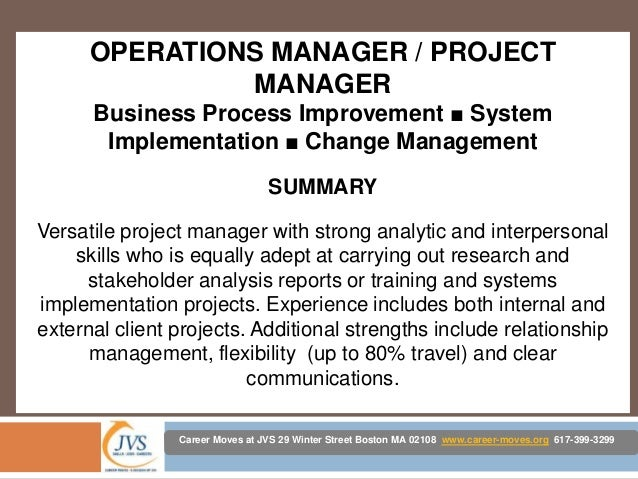 3 operations manager project manager business process - Business Process  Management Resume