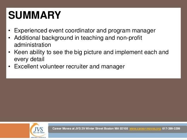 resume background summary examples