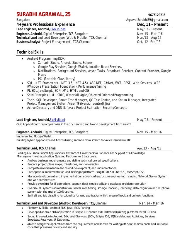 Resume SurbhiTcs  Yrs  Mon ExpAndroid Developer B Tech