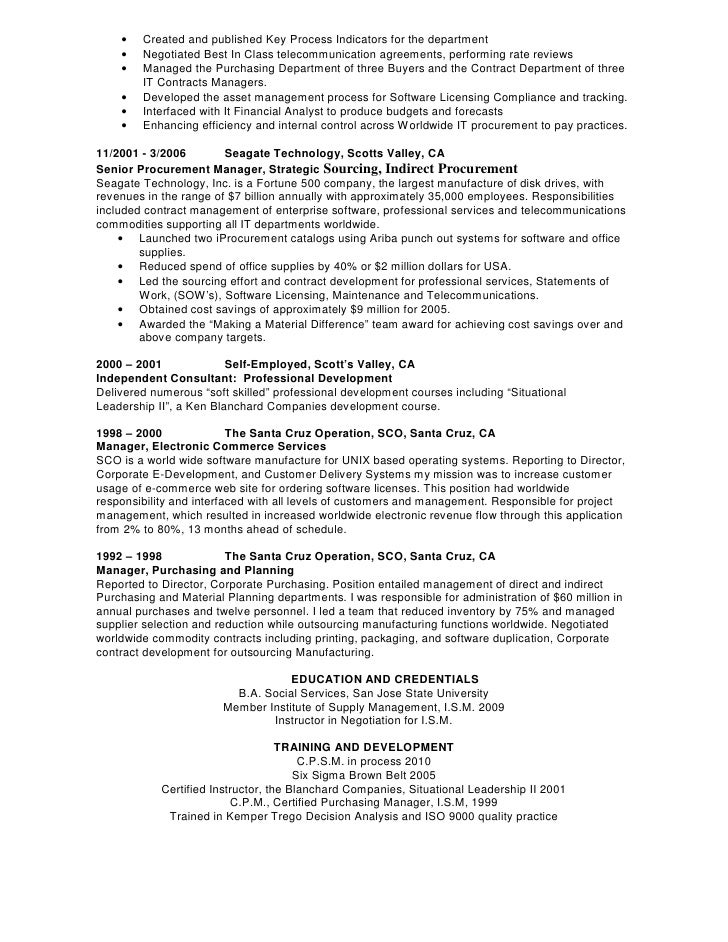 best resume for purchase manager