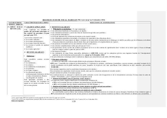Division de la Législation 1/28 RESUME DU SYSTEME FISCAL MAROCAIN (Mis à jour jusqu'au 31 décembre 2014) NATURE D'IMPOT CA...