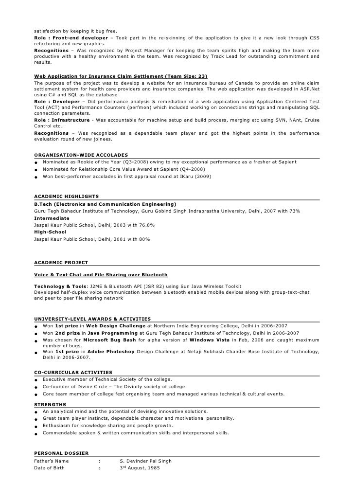 Sample resume format for 2 years experience in testing for Sample resume for manual testing professional of 2 yr experience